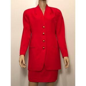 TAHARI 100% Wool Two Piece Red Skirt Suit Sz 6